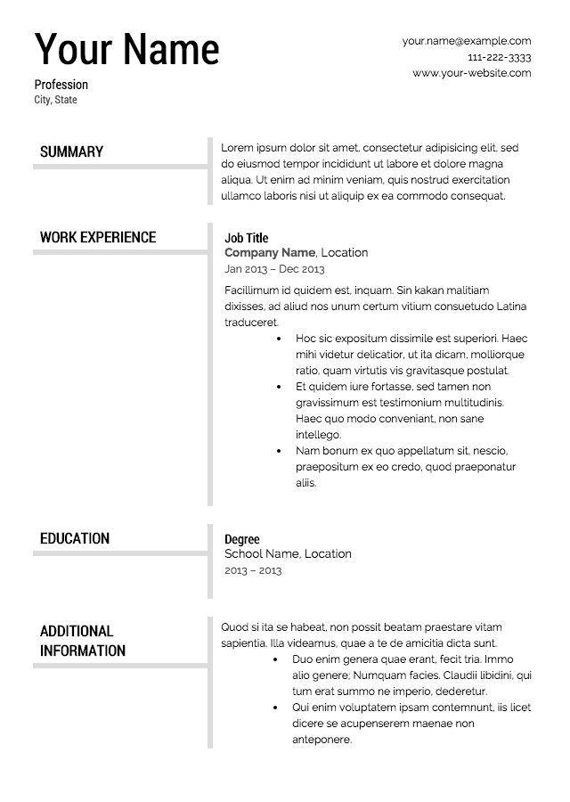 resume sample template free