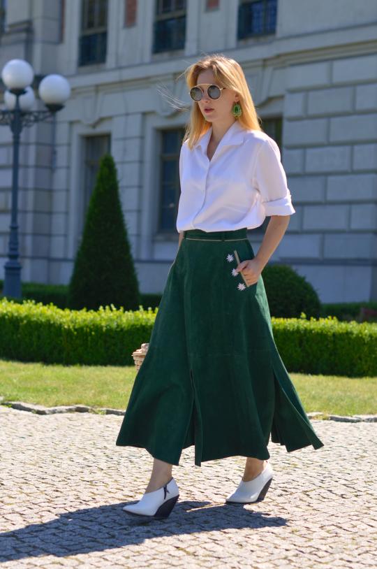 #skórzana #spódnica #botkihm #hmshoes #greenskirt
