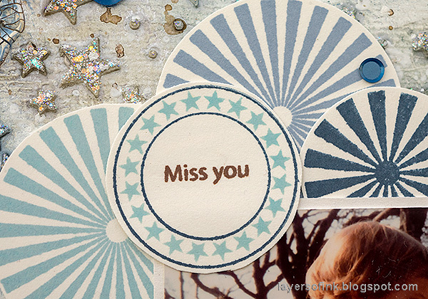 Layers of ink - Starry Sky Background Mixed Media Canvas by Anna-Karin Evaldsson. Simon Says Stamp Mix and Match Circles.