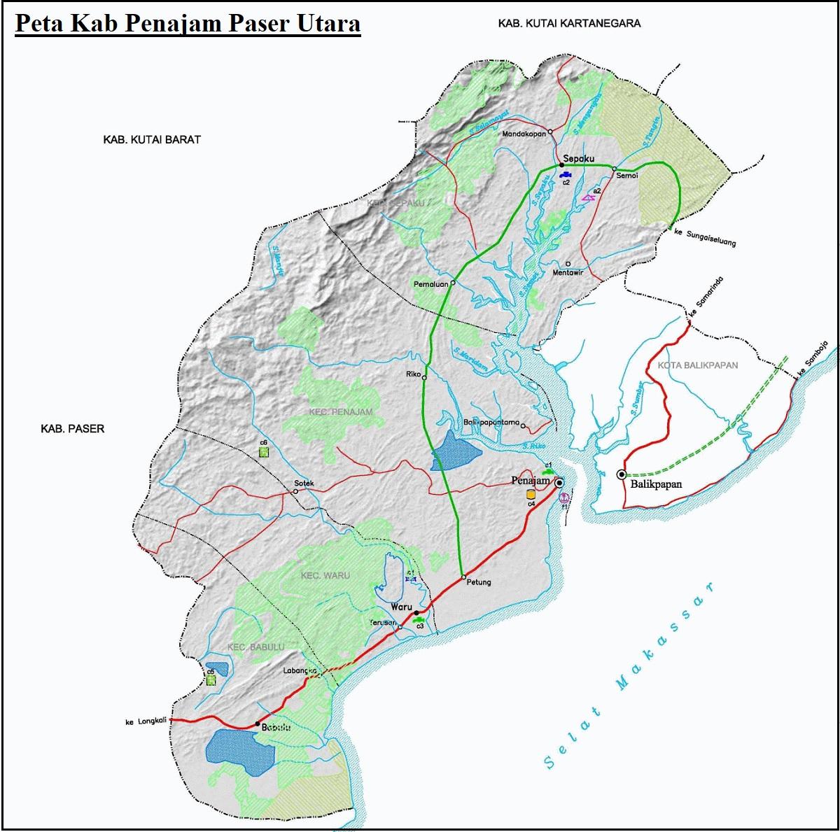 Peta Kabupaten Penajam Paser Utara HD
