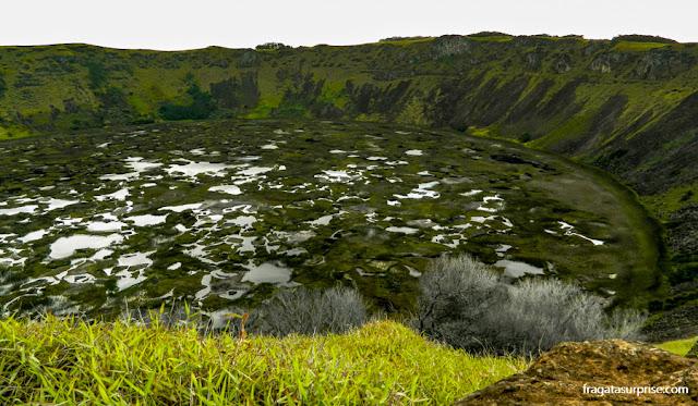 Cratera do Vulcão Rano Kau, Ilha de Páscoa