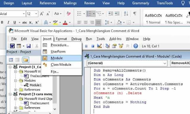 cara menghilangkan kolom comment di ms. word