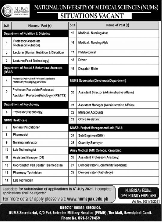 JOBS | National University of Medical Sciences (NUMS)