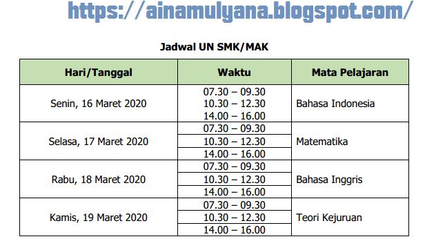 Jadwal Un Sd 2020 Kemendikbud