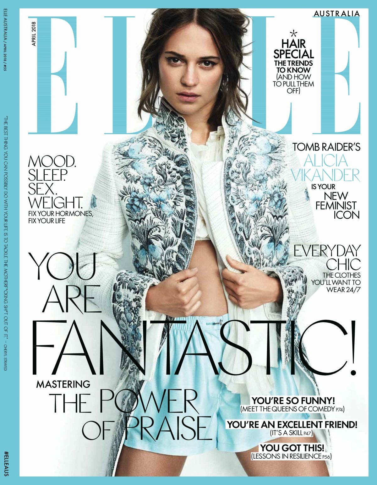 Alicia Vikander poses for Elle Magazine Australia May 2018