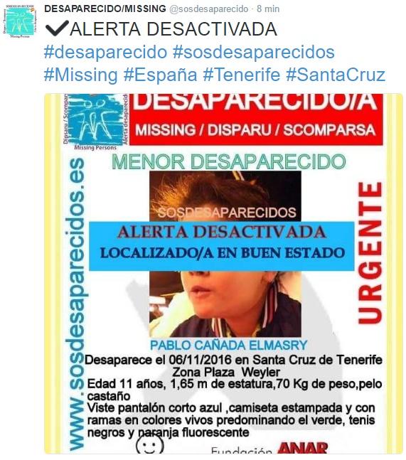 Niño desaparecido Tenerife, 6 noviembre