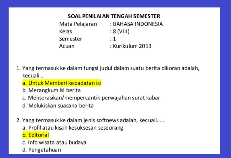 gambar soal pts bahasa indonesia kelas 8 semester 1