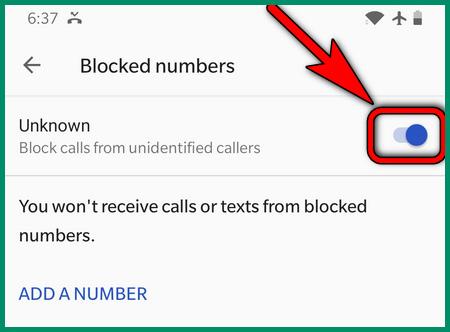 حظر المتصل المجهول OnePlus