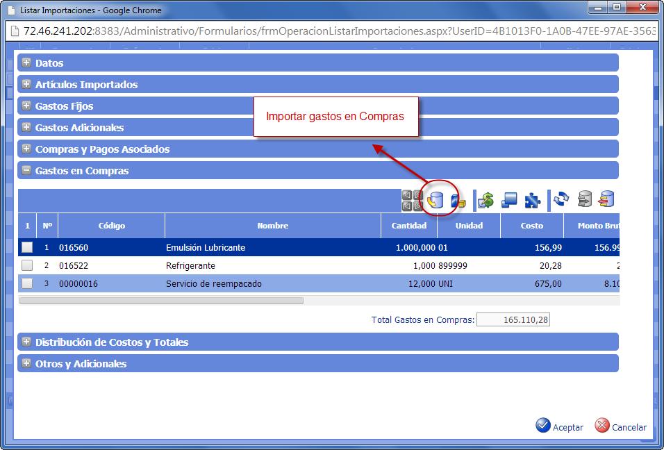 Gastos en Compras - Gastos de Importación de eFactory ERP/CRM
