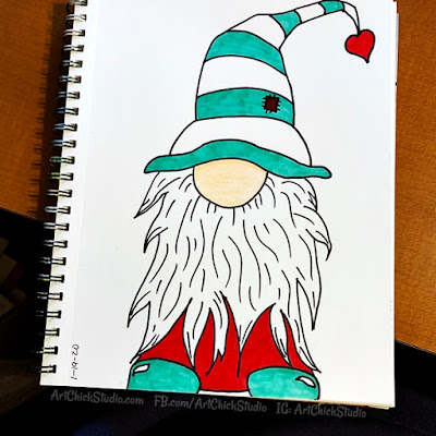 Gnome Drawing - Art Chick Studio