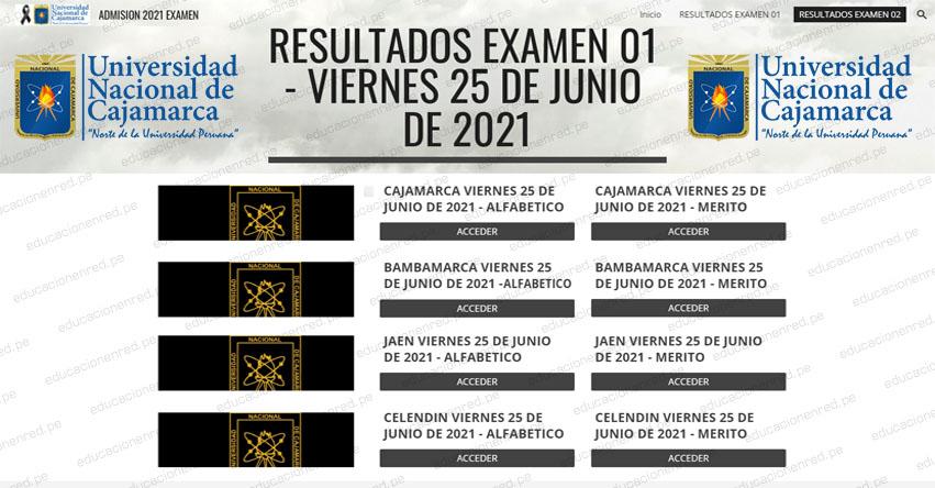 Resultados Admisión UNC 2021-1 (Viernes 25 Junio) Lista de Ingresantes - Examen 02 Presencial - Universidad Nacional de Cajamarca - Jaén - Chota - Celendín - Cajabamba - Bambamarca - www.unc.edu.pe