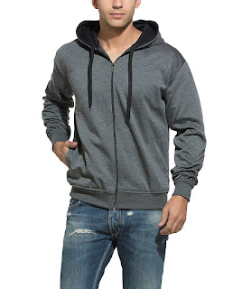 Solid Zipper Hooded Sweatshirt