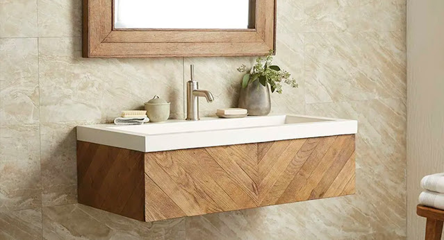 Chevron styled wall mount vanity by Native Trails in a warm wood color.