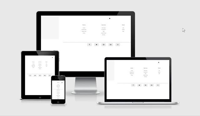 tampilan menu overlay full screen template essentials redesain