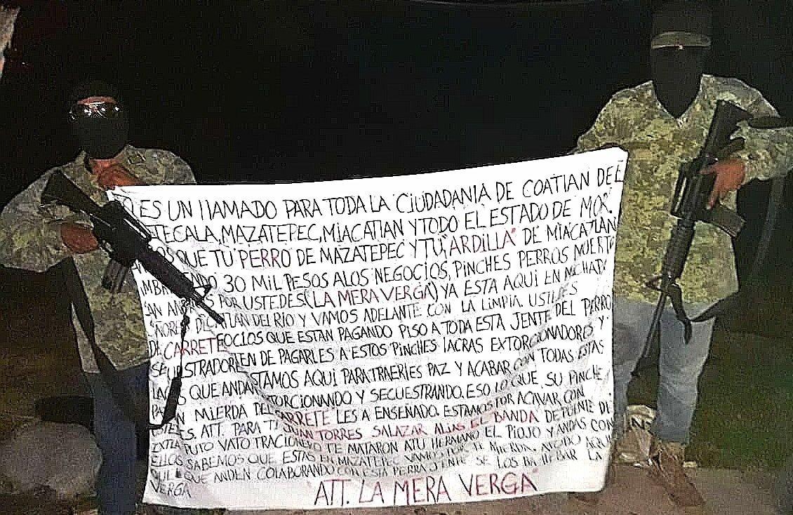 """""""A toda esta P..ta gente del perro de El Carrete"""", Sicarios de """"La Mera Verga"""" amenaza a los muertos de hambre de """"El Carrete"""" que cobran cuotas en Morelos"""