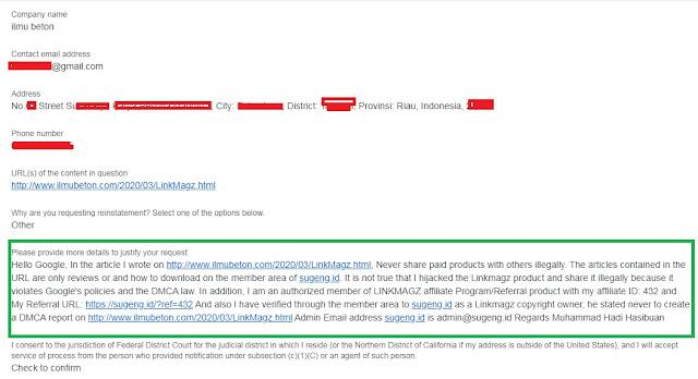 Contoh Isian Laporan Banding DMCA