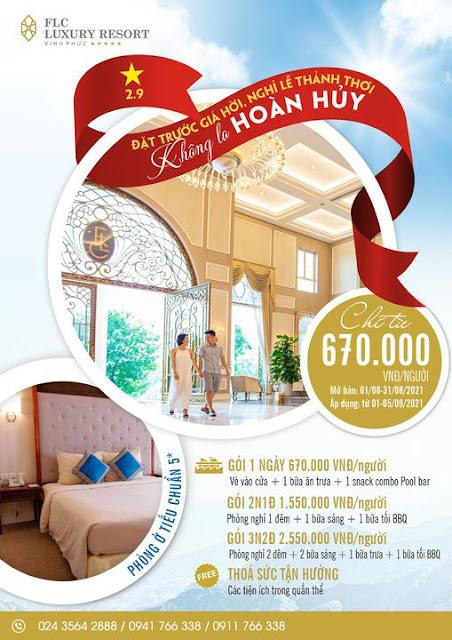 Ưu đãi FLC Vĩnh Phúc Resort mừng Quốc Khánh