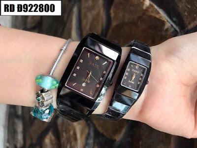 Đồng hồ nam mặt chữ nhật dây đá ceramic đen RD T922800