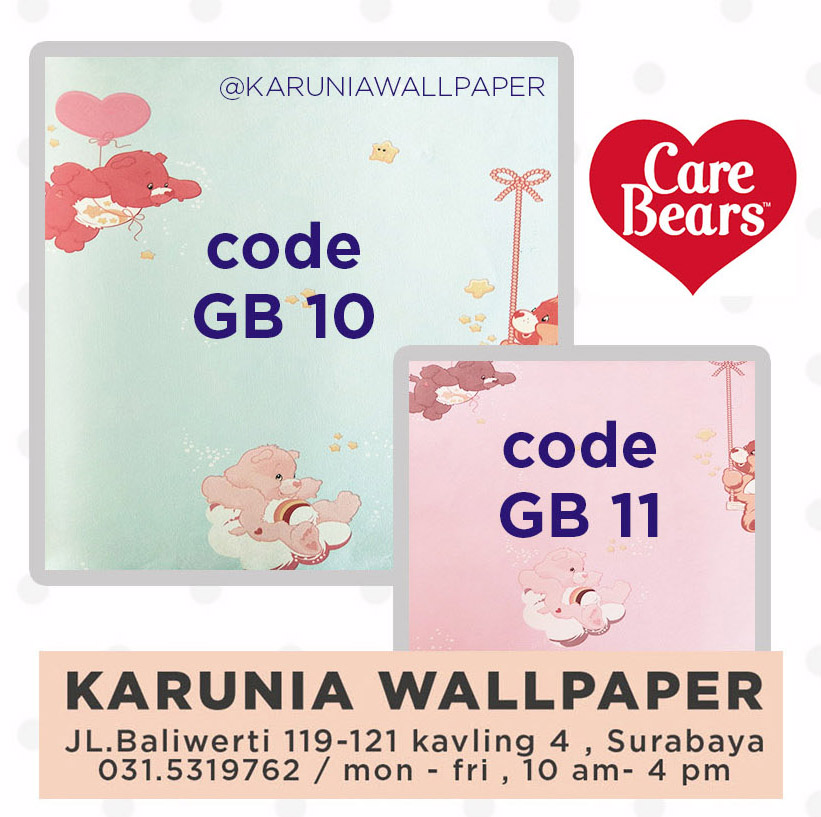 jual wallpaper dinding anak care bears