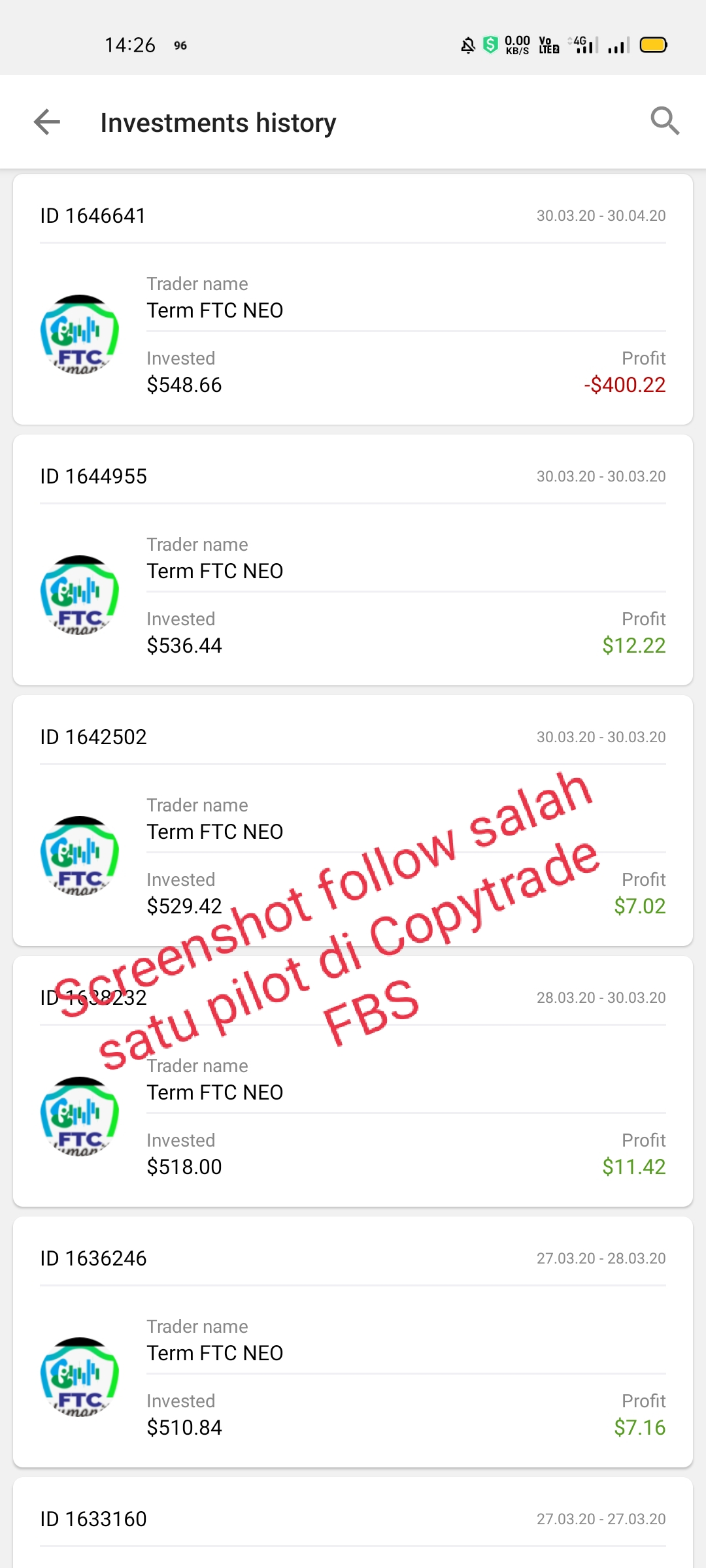 screenshot follow salah satu pilot di copytrade fbs