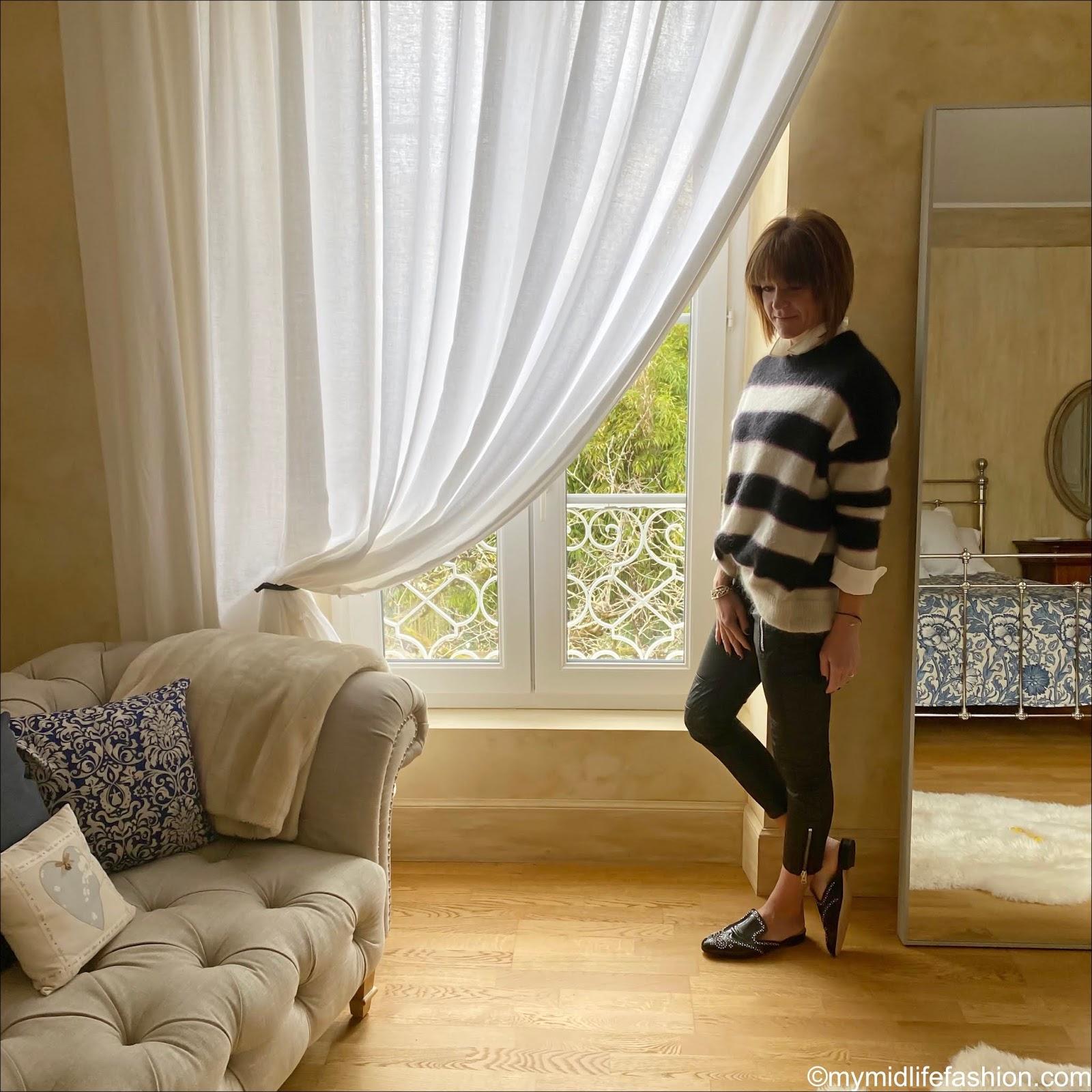 my midlife fashion, Marks and Spencer silk blouse, Isabel Marant Etoile mohair stripe jumper, Isabel Marant Etoile biker jeans, j crew studded leather loafers