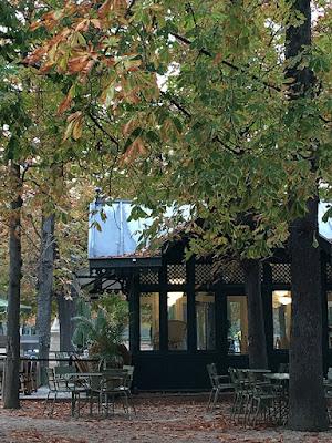 Post card view of café in Jardin du Luxembourg, Paris