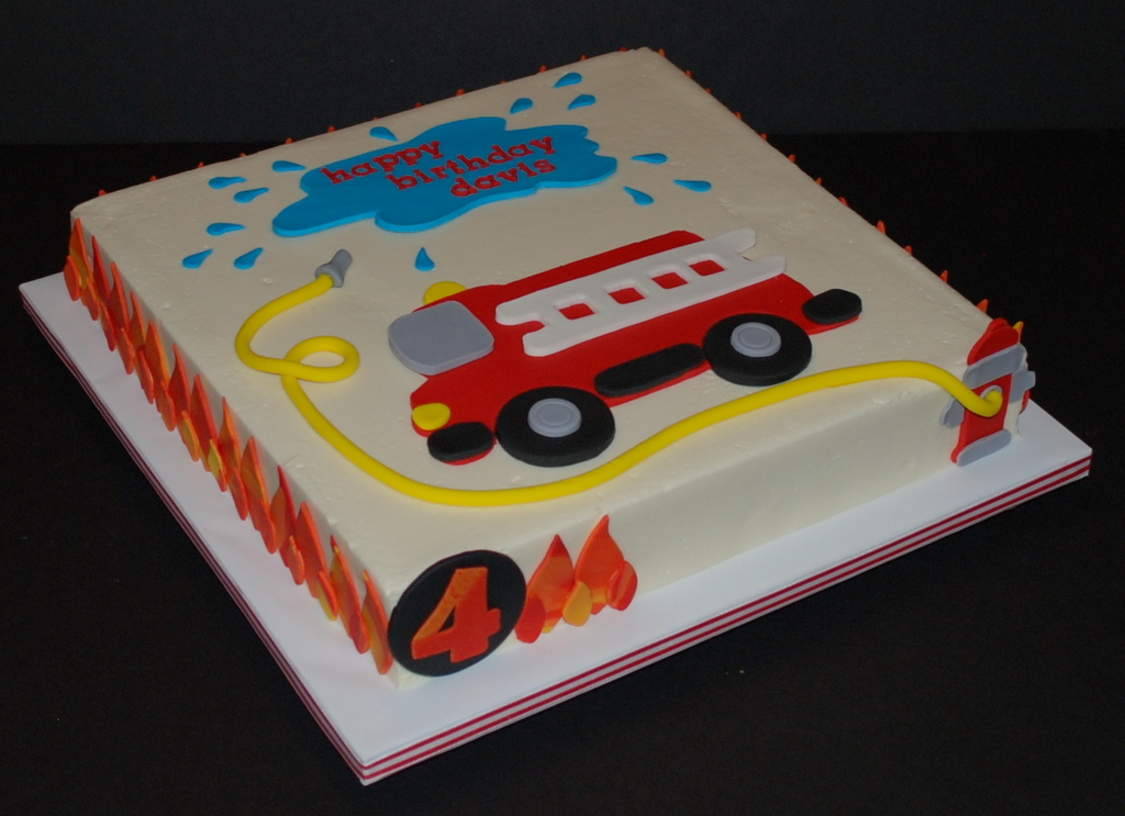 Firetruck Cake For A Little Boy Celebrating His 4th Birthday