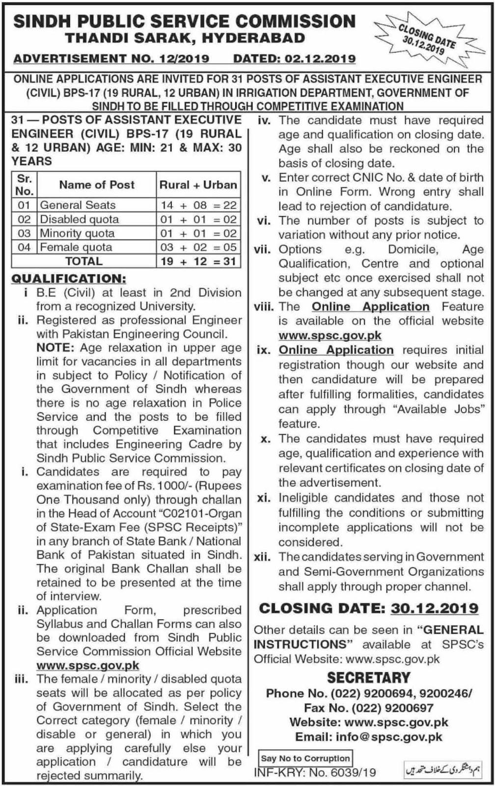 Sindh Public Service Commission SPSC Jobs Dec 2019