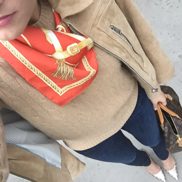Ralph Lauren Cashmere Cable knit and Louis Vuitton Speedy 30 and Emy Mack Pumps