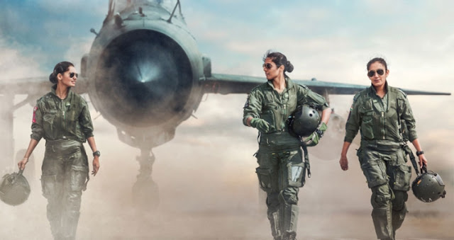 Indian Air Force fighter pilots Avani Chaturvedi, Bhawana Kanth and Mohana Singh with a MiG 21 Bison jet fighter