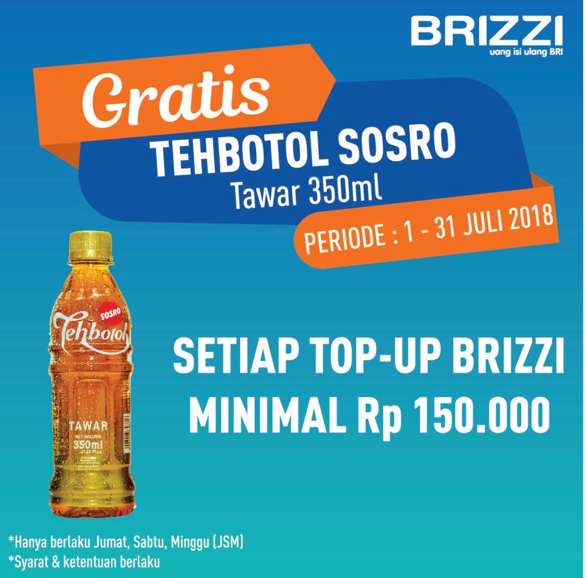 Bank BRI - Topuup BRIZZI di Alfamidi Gratis Teh Botol Sosro Tawar 250 ml (s.d 31 Juli 2018)