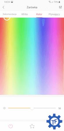 Wybór koloru w aplikacji Yeelight