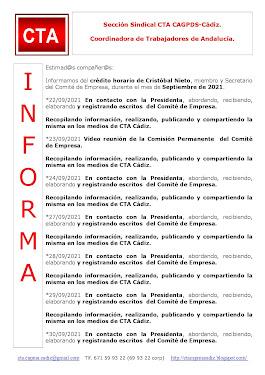 C.T.A. INFORMA CRÉDITO HORARIO CRISTOBAL NIETO, SEPTIEMBRE 2021