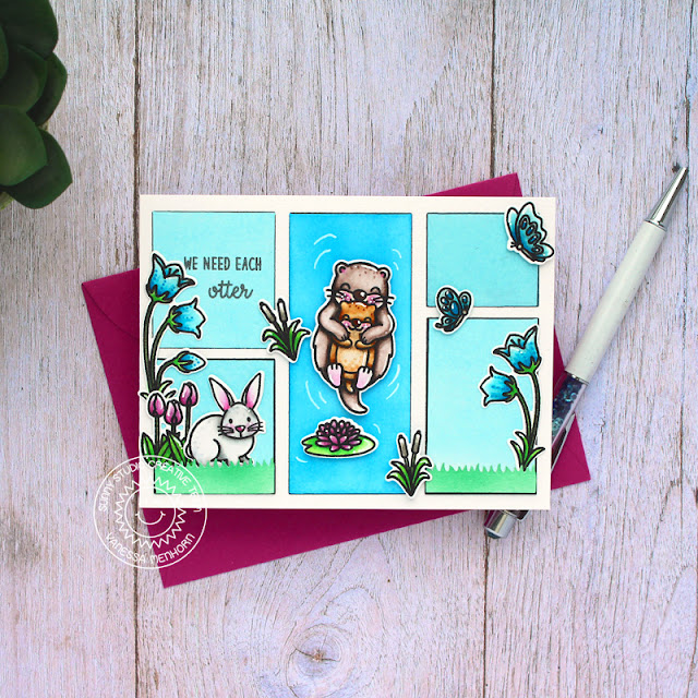 Sunny Studio Stamps: My Otter Half Country Scenes Comic Strip Everyday Dies Easter Wishes Card by Vanessa Menhorn