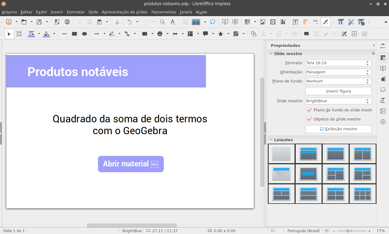 Libreoffice impress com hiperlink para material do GeoGebra