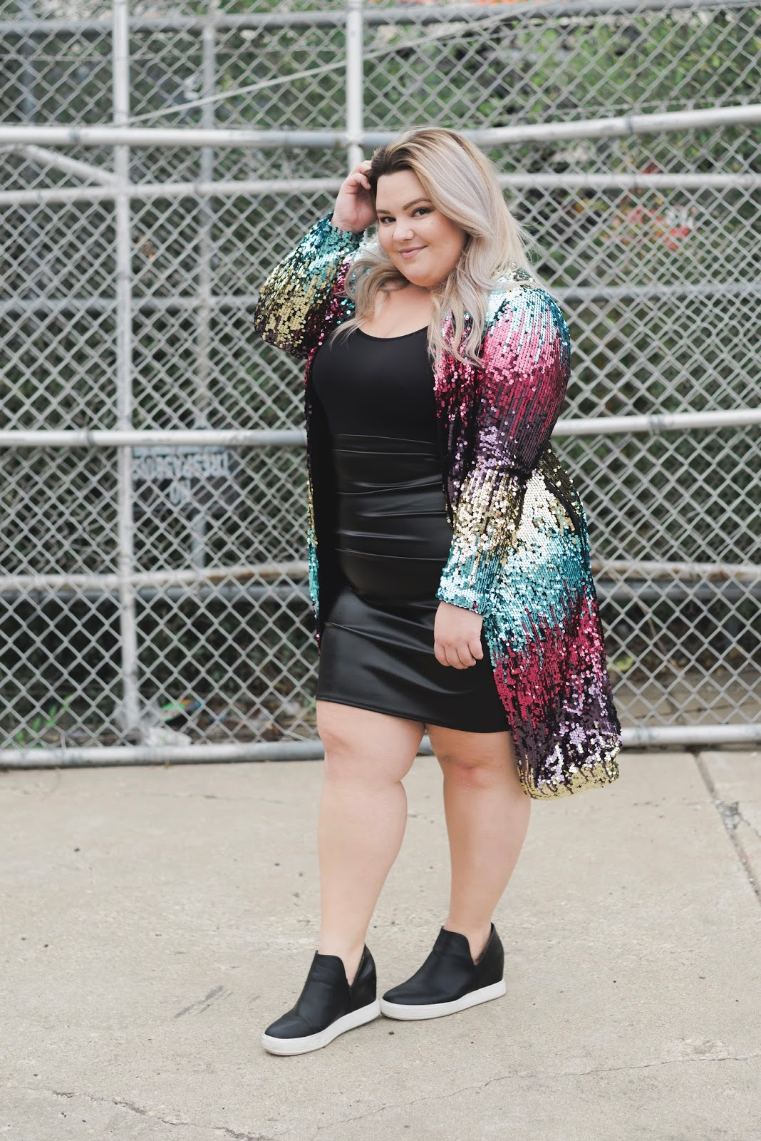 natalie Craig, natalie in the city, Chicago plus size fashion blogger, Chicago plus size model, sequin blazer, plus size sequins, wedge sneakers, inavie boutique, affordable plus size fashion, sequins fall 2017, how to wear sequins, plus model magazine, midwest blogger, Chicago fashion, rainbow sequins, curves and confidence