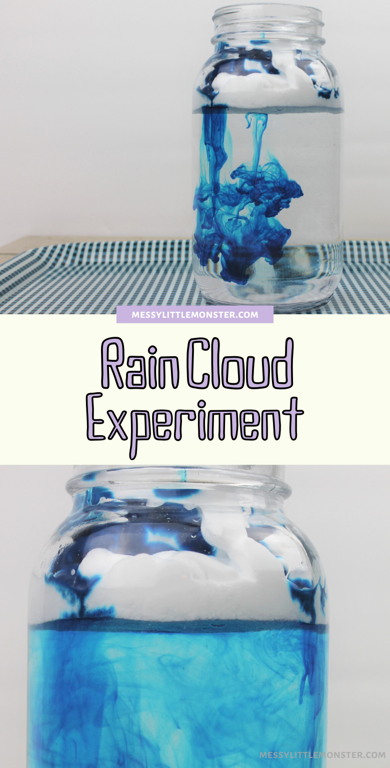Shaving cream rain clouds cloud in a jar science experiment for kids. Easy weather science experiments.