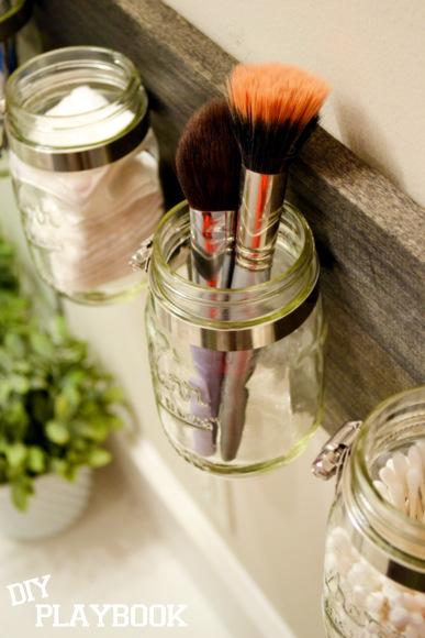 Mason Jar makeup brushes