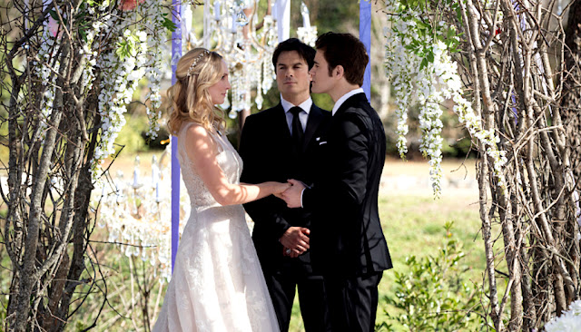 "steroline stefan salvatore caroline forbes married The Vampire Diaries Season 8 Episode 12 ""We're Planning A June Wedding."""