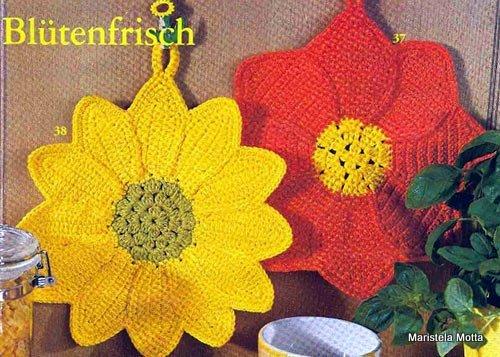 Maniques fleurs au crochet