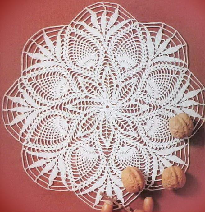 crochet doily - pineapple doily - diagram pattern - No:14 white