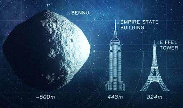 tamanho do asteroide bennu