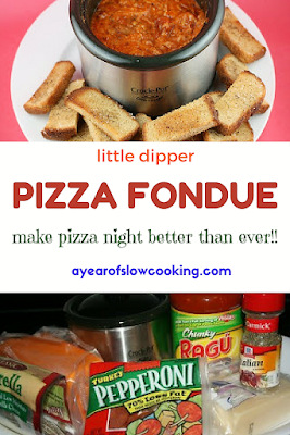 I love my Little Dipper and am always trying to find new recipes! This pizza fondue recipe can be made in a larger crockpot or you can use the recipe here to make it perfectly in the Little Dipper slow cooker!