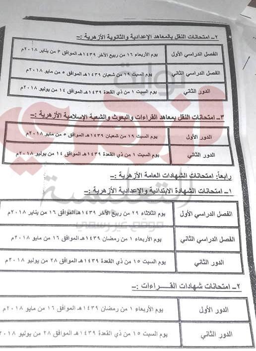 مواعيد امتحانات النقل والشهادات بالازهر 2018