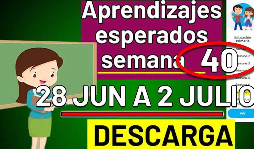 🧠🎒 DESCARGA los aprendizajes esperados de la semana 40 ( 28 JUNIO A 2 DE JULIO 2021)