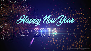 Happy New Year 2019 Blue Dark Light And Colorful Fireworks Illustration