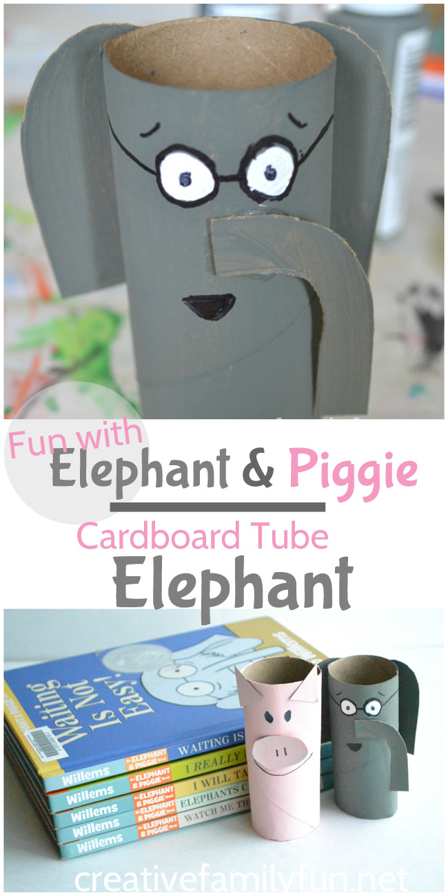 Are your kids Elephant and Piggie fans! They'll love making their own cardboard tube Elephant to use as a ready buddy or to act out the books.