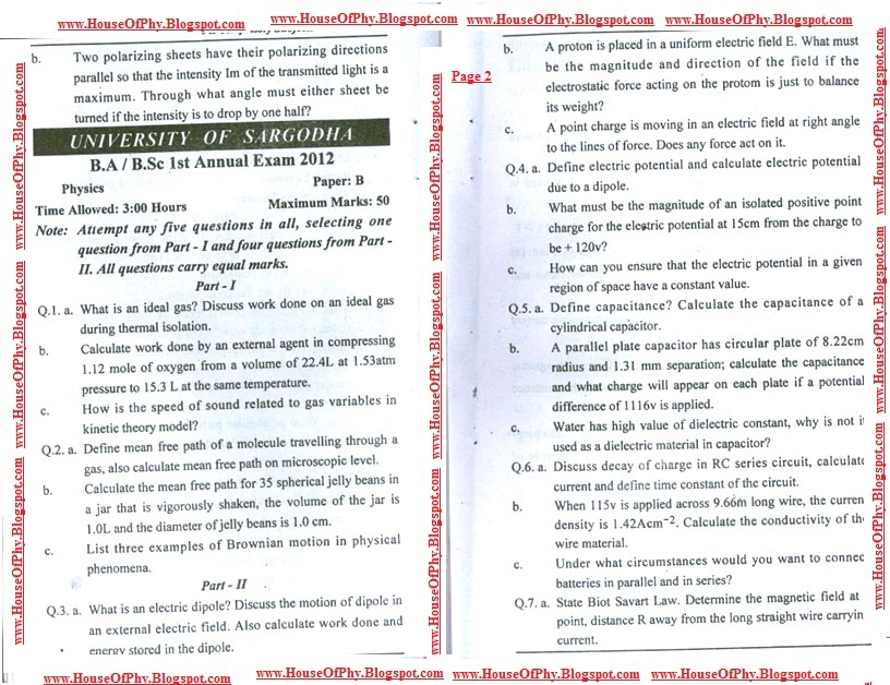 B Sc  PHYSICS PAST PAPERS OF UNIVERSITY OF SARGODHA ~ House of Physics
