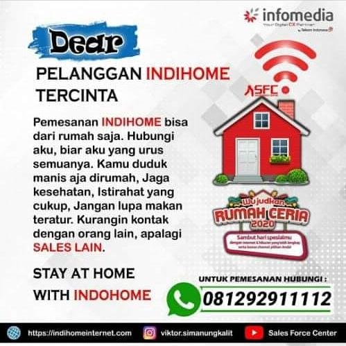 Butuh Indihome wilayah Palembang dan sekitarnya? Hubungi HP / WA 081292911112 Bapak EKO JAYA SAPUTRA.