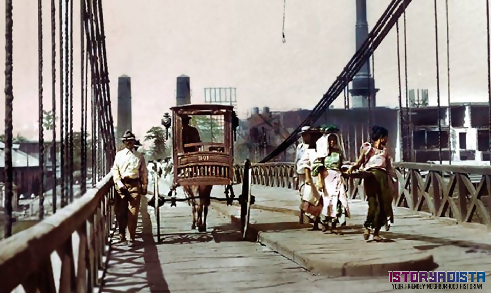Puente de Colgante suspension bridge in Manila (c1900s)
